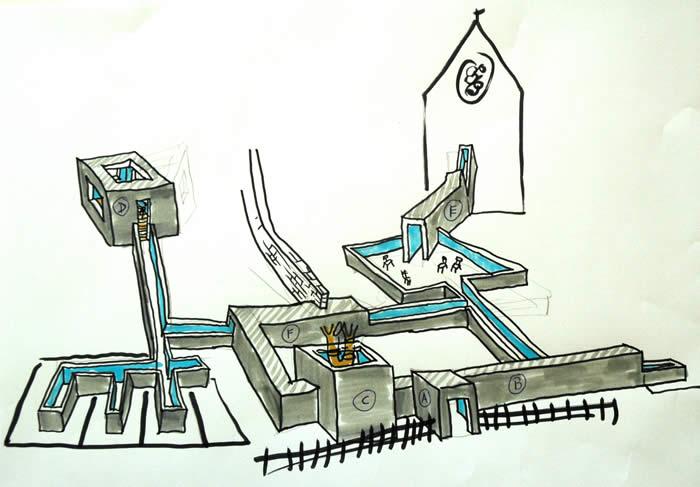 Here Now, dessin Courtesy: Krijn de Koning. Maladrerie de Saint Lazare, Ville de Beauvais.