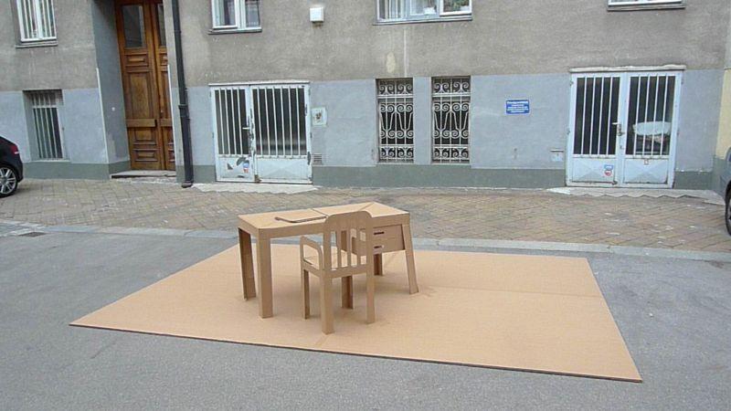 Pop Up sculpture, office in cardboard, by artists Liddy Scheffknecht et Armin B. Wagner www.arminbwagner.com - www. liddyscheffknecht.net